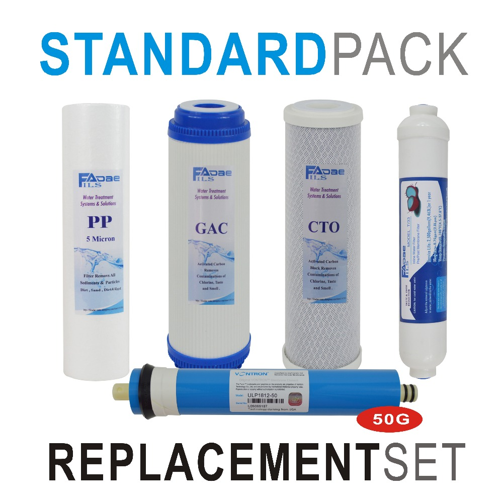 Reverse Osmosis System Replacement Filter Set 5 Stage Filters with 50 GPD RO Membrane Elements and