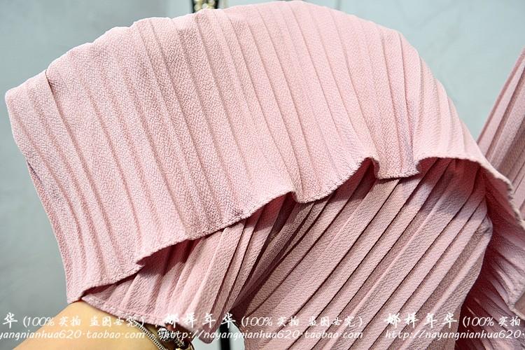 2019 Summer High Waist Lace Up Waist Pleated Pants Women Loose Wide Leg Chiffon Pants Lady Lace Up Waist Ankle Length Pants 51