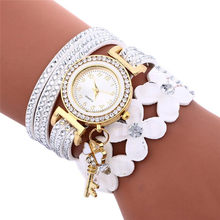 Drop Shipping Fashion Chimes Diamond Watches Women Clock Good Leather Metal Watch Bracelets Lady Womans Montre Femme #BL5(China)
