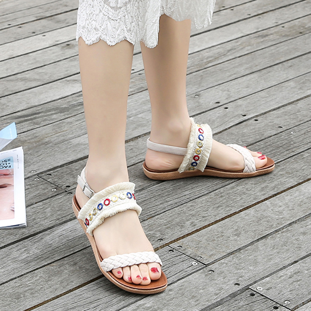 Woven Belt Fringe PomPom Sandals Sandals Flat with Roman Gladiator High Lace Thong Flip Flop Shoes Woman цена 2017