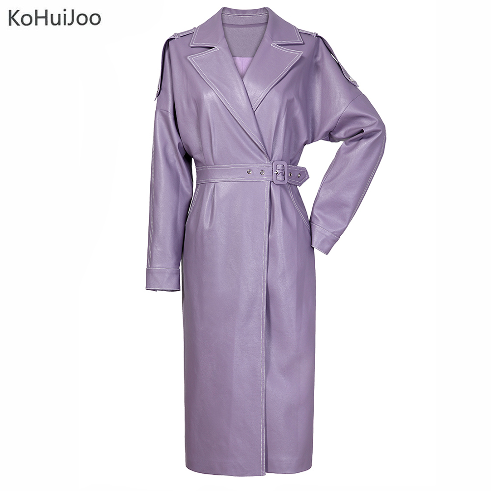 KoHuiJoo Spring Autumn Faux   Leather   Jackets Women Long New Fashion Turn Down Collar Batwing Sleeve Jacket Casual PU Coat Belt