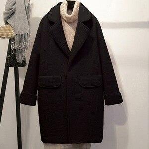 Image 3 - Streetwear ארוך צמר מעיל Loose יחיד חזה צמר תערובת מעיל מעיל תורו למטה צווארון נשים מעילי סתיו חורף