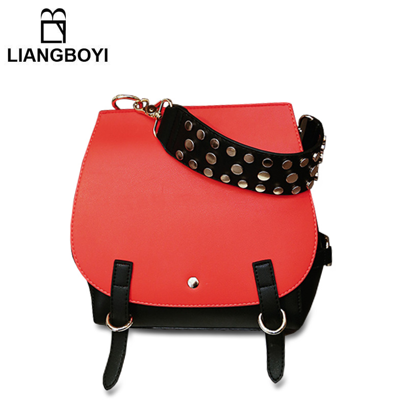 New Leather Shoulder Bag For Women Luxury Brand 2017 Fashion Designer Handbags High Quality Rivet Strap Bucket Bags Black new fashion embroidered handbags hit color leather woman bag animal motifs women s shoulder bag cheap luxury brand designer bag
