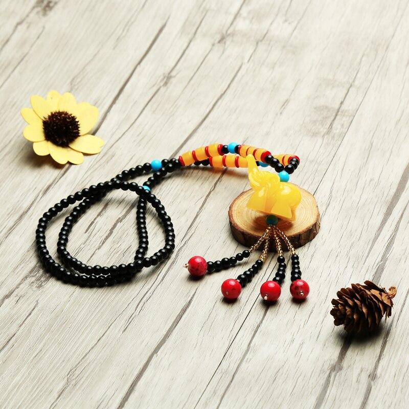 Vintage Women Beads Necklace Elephant Pendant  Korea Style Long Sweater Chain Literary Sen Department Ethnic Neckwear Jewelry
