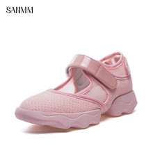 SANMM Women Summer Breathable Mesh Casual Shoes Woman Non-Slip Solid Sandals Soft Sole Flat With Mother AZ131