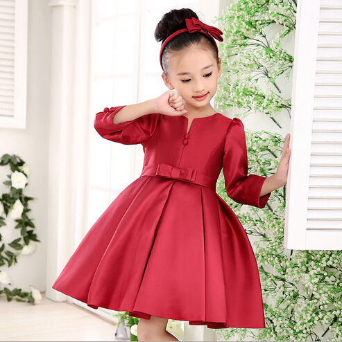 Girls Christmas Dresses 2016 New Arrival Girl's Bow Button Red ...