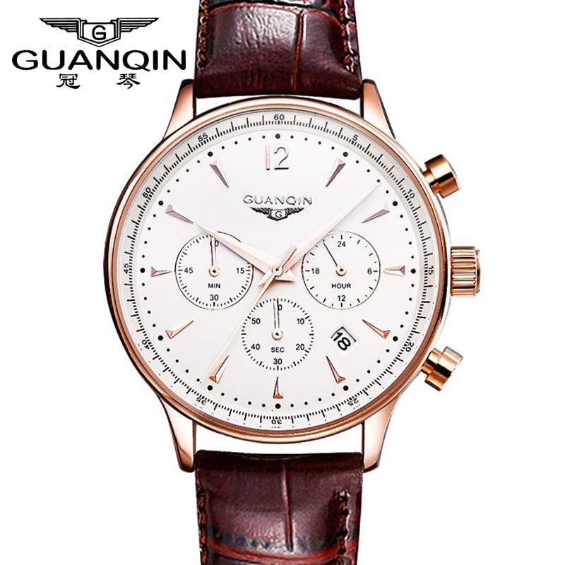 Men Sport watch Top Luxury Brand GUANQIN Leather Quartz Watches Men's Fashion Casual Wristwatch watch men Relogio Masculino