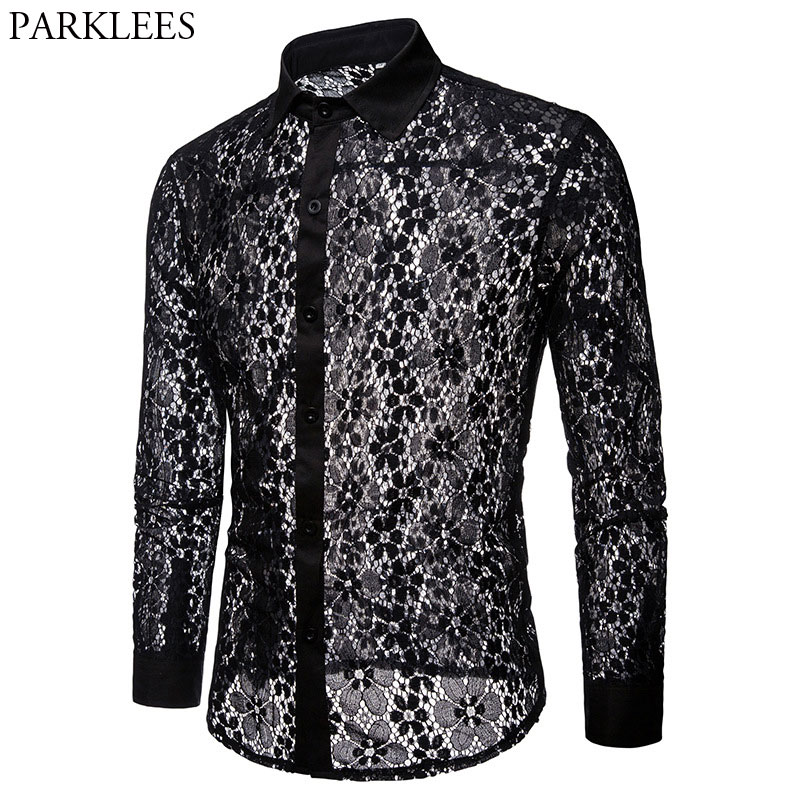 Luxury Floral Embroidery Lace Shirt Men 2018 Brand New Transparent Sexy Dress Shirts Mens See Trough Club Party Black Shirt Male
