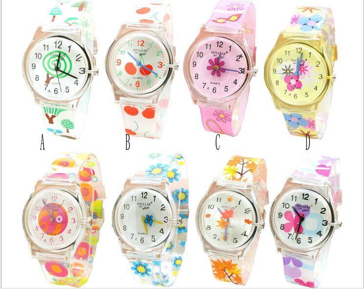 Students kids Quartz Watch Women willis Flower Women's Fashion Watch cherry Butterfly Flower Ultra-Thin Silicone Watch цена