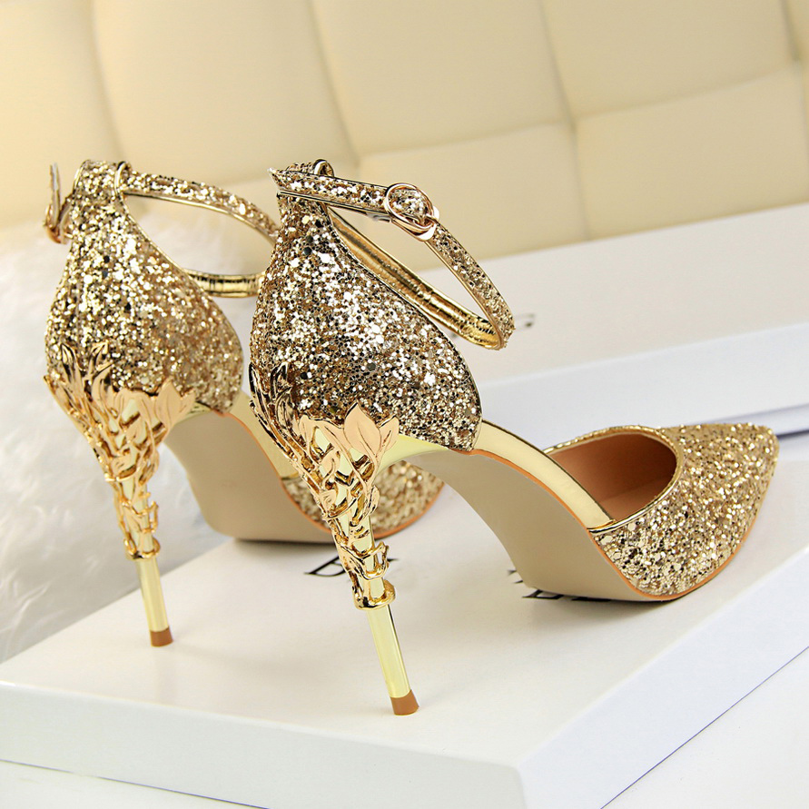 2019 Sexy Women 10cm High Heels Size 40 Sandals Wedding Scarpins Metal Heels Sandals Strap Stiletto Bridal Glitter Gold Pumps