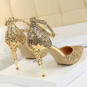 2019 Sexy Women Low 7.5cm 9.5cm High Heels Sandals Wedding Scarpins Metal Heels Sandals Strap Stiletto Bridal Glitter Gold Pumps(China)