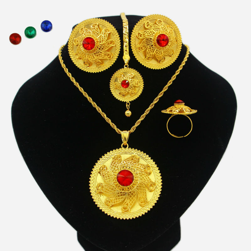 2017 New Ethiopian Wedding Party Jewelry Sets Gold Plated Jewelry Habesha African Women Party Gifts
