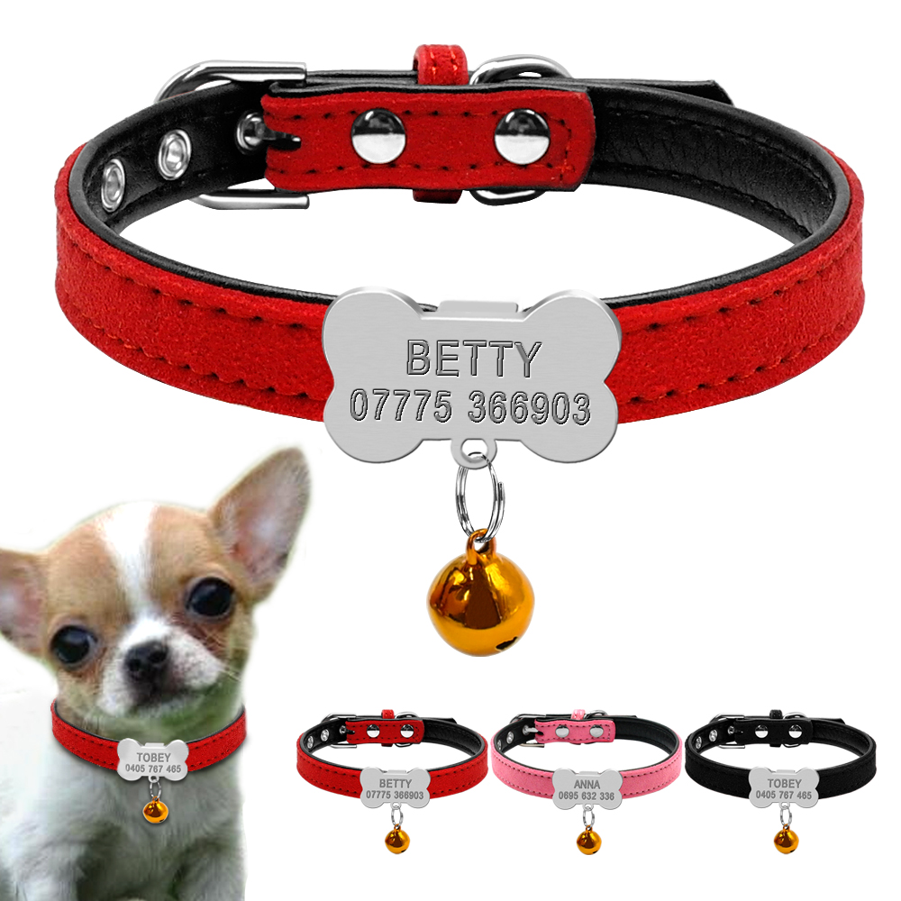 Personlig hundeklosser Skreddersydd Chihuahua Puppy Cat Collar Bone ID Tags Gravert For Små Medium Hunder Gratis Gave Bell XS S
