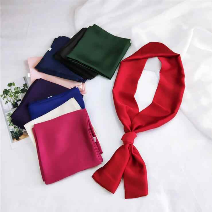 Vintage Solid Color Head Neck Women Square Scarf Hair Tie Band Silk Feel Satin