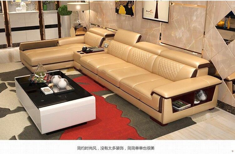 Living Room Sofa Set Furniture Real Genuine Cow Leather Sofa Recliner Speaker Bluetooth Puff Asiento Muebles De Sala Canape Cama