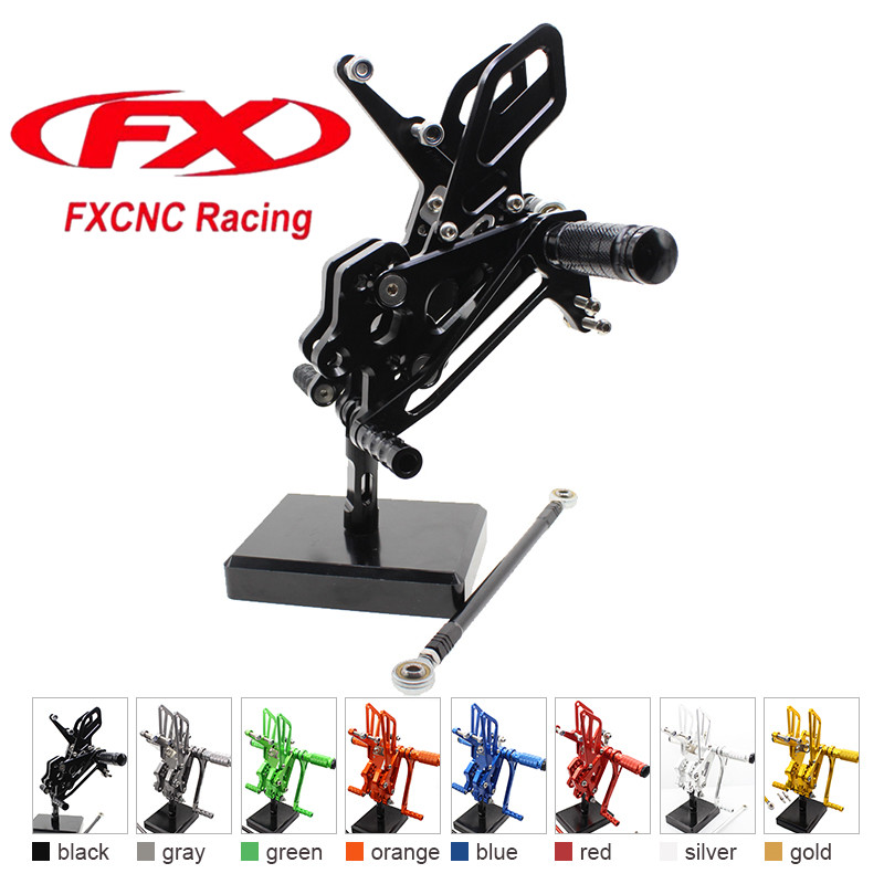 FX CNC Aluminum Adjustable Motorcycle Rearsets Rear Set Foot Pegs Pedal Footrest For KAWASAKI ZX10R 2004 - 2005 Motorcycles free shipping motorcycle parts silver cnc rearsets foot pegs rear set for yamaha yzf r6 2006 2010 2007 2008 motorcycle foot pegs