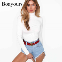 Boayours Women T Shirt Sexy Turtleneck White Black Long Sleeve Bodycon T Shirt Female Crop Top