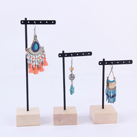 New Fashion Solid Wood Metal Stick Earrings Display Holder Earrings Display Holder Jewelry Display Stand