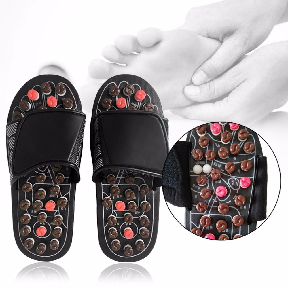 Foot Massage Slippers Health Care Shoes Reflexology Massage Sandals Elderly Feet Health Care Product Pebble Stone Massager New natural pebble foot massage slippers point massage shoes men and women couple home skid shoes tb20903