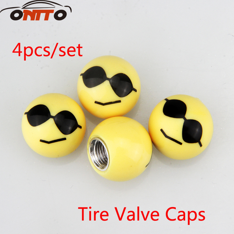 4pcs Tire Valve Caps Auto valve cap personality expression cool face sunglasses modified tire nozzle leakage valve cover