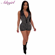 Adogirl Sexy Night Club Party Shiny diamonds Shorts Jumpsuit Women Zipper Deep V Neck Sleeveless Casual playsuit outfitsRomper