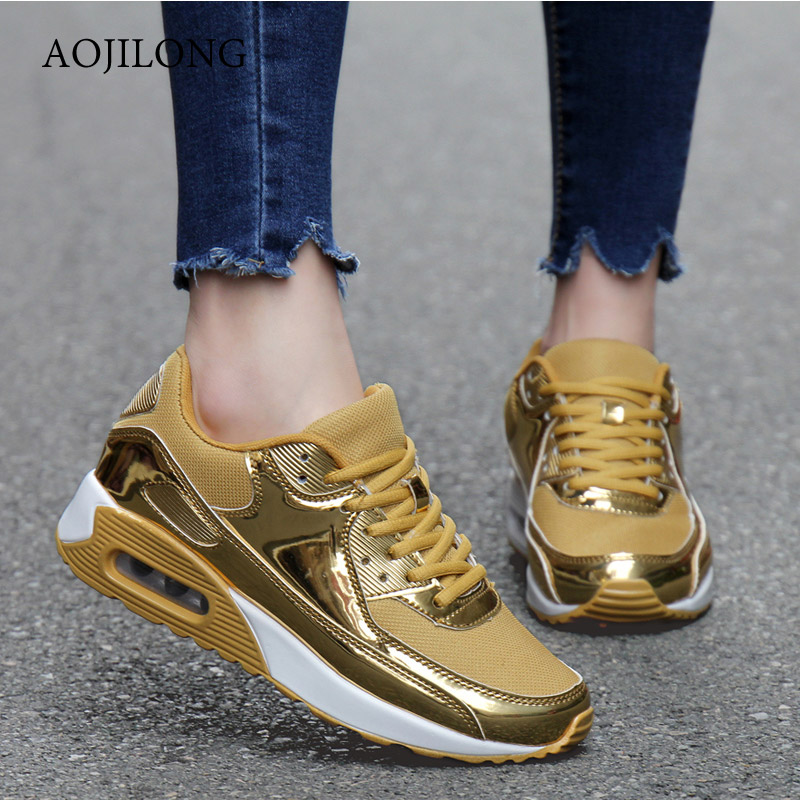AOJILONG New Brand Running Shoes Zapatillas Hombre Shoes Outdoor Lace-Up Basket Femme Couple Superstar Air mesh Glossy Gold Men