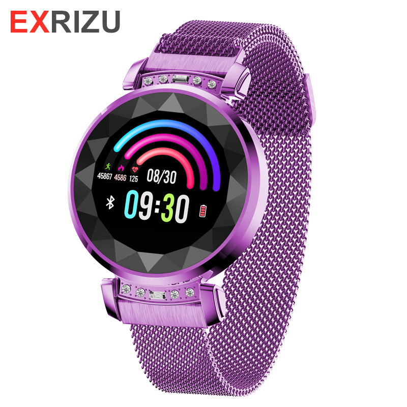 EXRIZU BM88 GIRL WOMEN LADY Female Fashion Smart Watch Magnetic Stainless Steel Wrist Strap Heart Rate