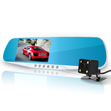 E-ACE Car Dvr Camera Led Lights Blue Rearview Mirror FHD 1080P