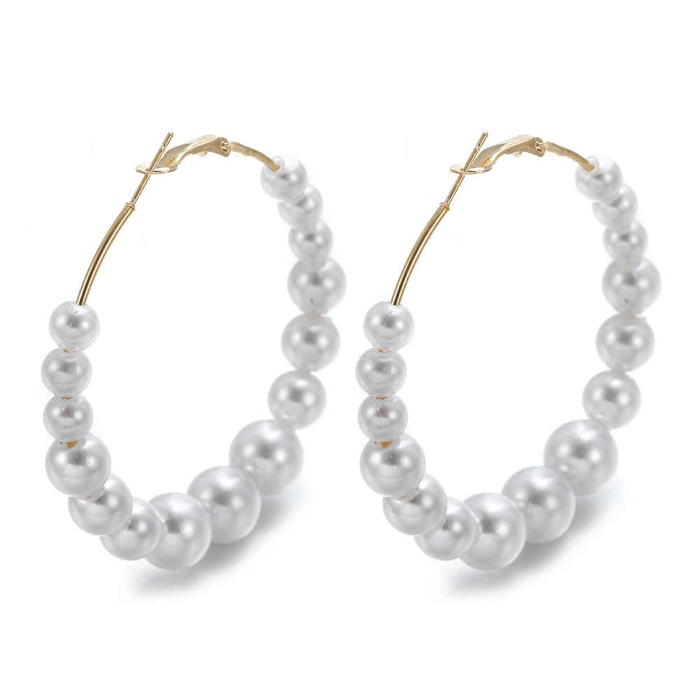 5cm Women Elegant White Pearls Round Hoop Earring Girl Birthday Party Big Pearl Circle Round Earrings Wedding Engagement Jewelry
