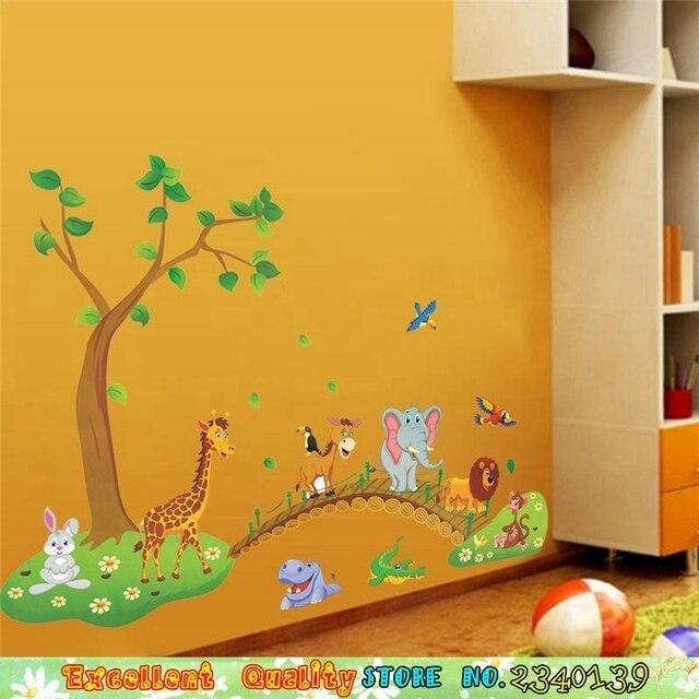 DIY Baby Kids Room Cartoon Animals Wall Sticker Giraffe Elephant ...