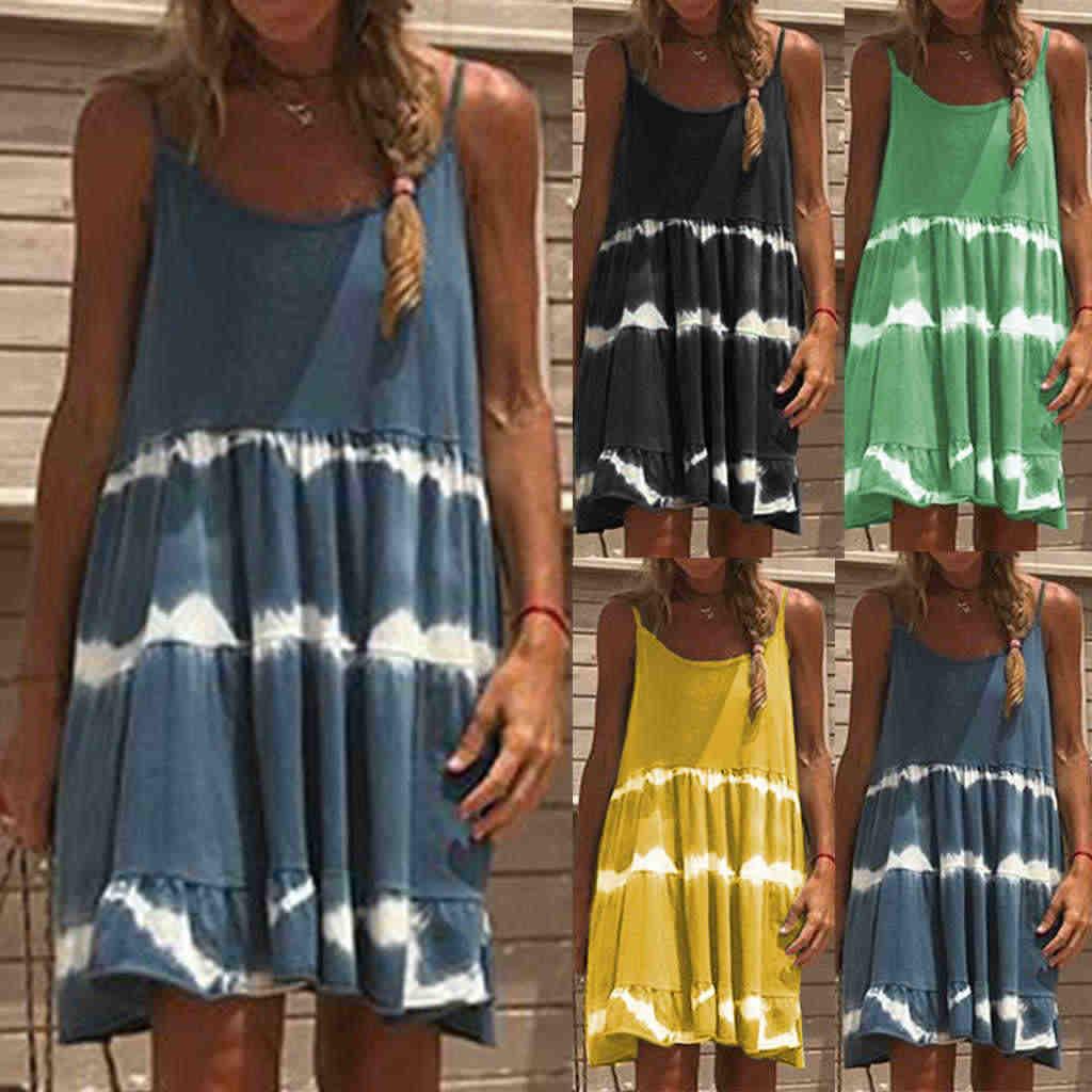 Vestido de verano para niñas con tirantes finos sexy Vestidos de mujer Sexy con cuello en V sin mangas playa sin espalda Patchwork mini vestido de fiesta Vestidos