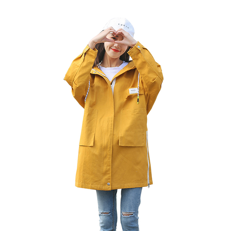 2019 Spring Women Fashion   Trench   Harajuku Series Cotton   Trench   Coat Female Hooded Outwear Loose Casual Windbreaker Women's Coat