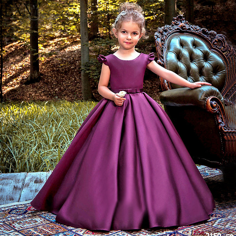 EXNY Purple   Flower     Girls     Dresses   Elegant Ruffles Sleeve Satin Kids Pageant Gowns With Bow First Communion   Dress