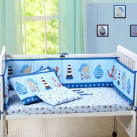 Baby Bumper In the Crib For Newborn Cotton Linen Protector Baby Bed Cot Bassinette Bumpers Pad Padded & Quilted Full Surround