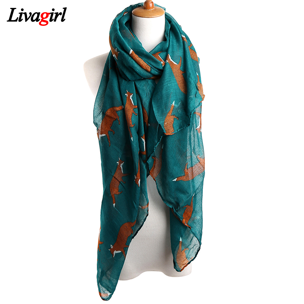 2017 New Fashion Women   Scarf   Vintage Fox Animal Print Infinity Ring   Wraps   Long Soft Cotton Voile Bufandas Mujer Pashmina Shawls