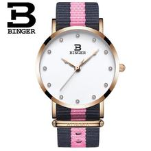 Binger Watches Women Fashion Quartz Watch Clock Woman Rose Gold Ultra Thin Case Nylon Watchband Casual Ladies Quartz Watch Gift