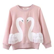 Enfant/теплые толстовки с принтом для девочек детская одежда толстовки с капюшоном для маленьких девочек с изображением лебедя кружевной топ с длинными рукавами и круглым вырезом