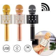 Professional Microphone Bluetooth Wireless karaoke Mic USB KTV Player Portable Handheld Karaoke Singing Recorder Studio WS 858