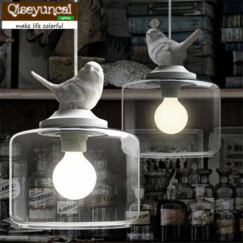 Qiseyuncai Child Real Cartoon White Resin Bird Glass pendant lamp Fashion Bedroom Bedside Brief Rustic Lighting|rustic lighting|pendant lamp|glass pendant lamp - title=