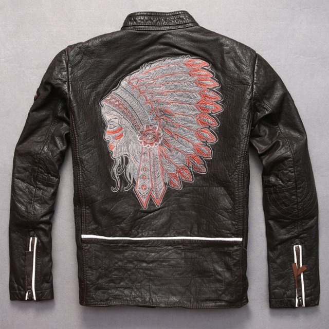 male motorcycle rider leather jacket stand collar slim short design tribe chief embroidery cowhide leather clothing