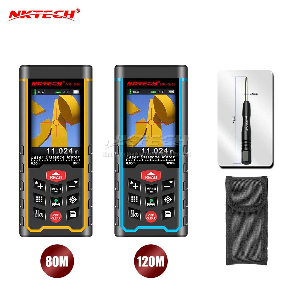 NKTECH 80 м 120 м лазерный дальномер камера USB Перезаряжаемый дальномер Площадь угол громкости Пифагор TFT Красочный дисплей задержка