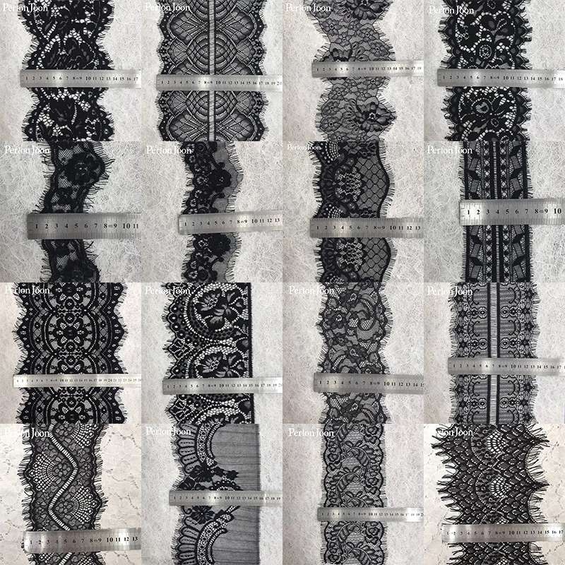 3 yard A variety of classic style eyelash lace black non-elastic wavy lace trim decoration sewing in clothes JM048-068