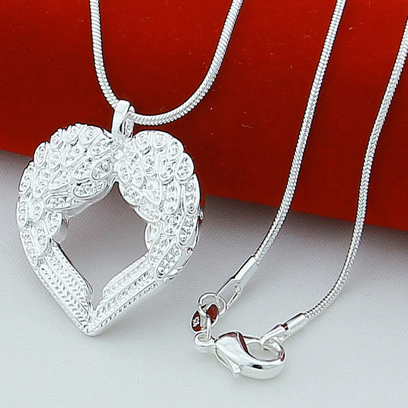 New Trendy Style 925 Silver Necklace Fashion Angel Wings Heart Pendant Necklace for Women Fine Jewelry