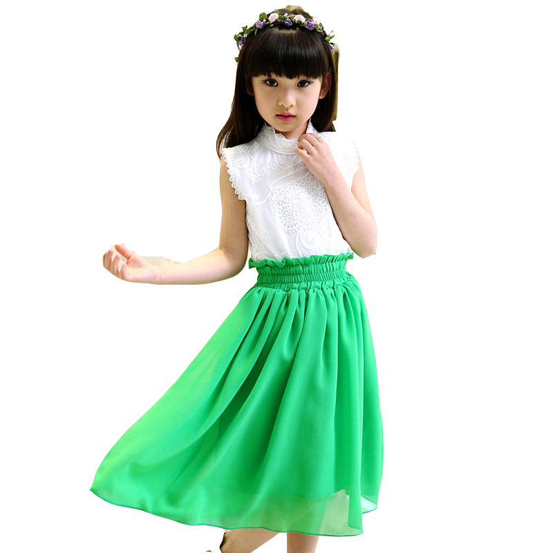 Girls Clothing Sets White Lace Blouses For Girls Long Chiffon Skirts 2Pcs Set 2017 Summer Kids