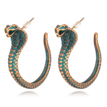 New Style Women Earrings Punk Snake Gold Silver Animals Fashion Stud Earring Hip Hop Scary Metal Jewelry Hot