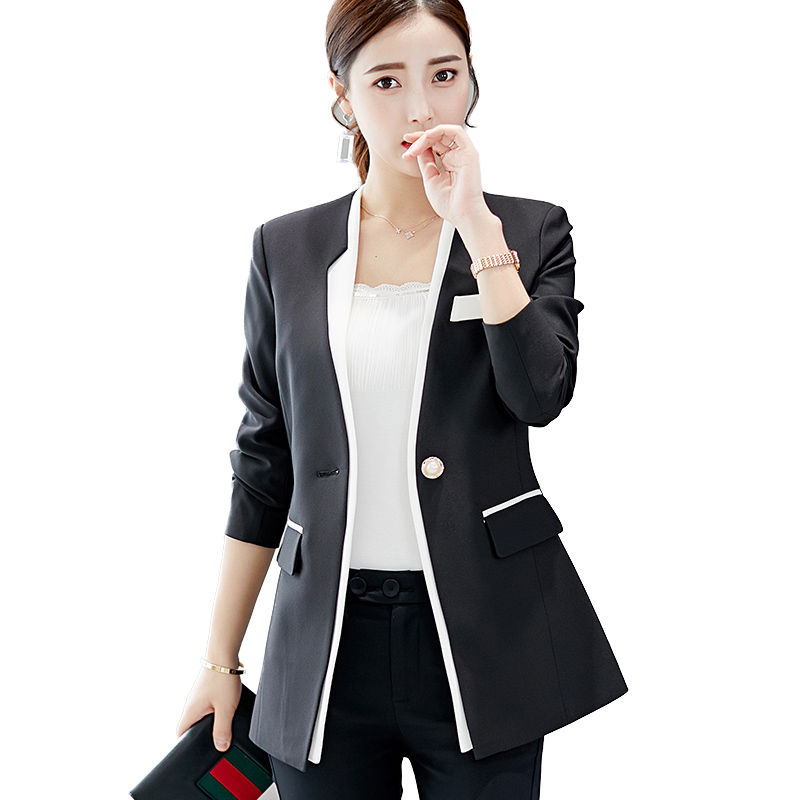 Notched Single Button Long Sleeves Women Blazers  Autumn Jackets And Coats Slim Black White Patchwork Female Outerwear