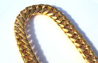 Heavy MENS 24K SOLID GOLD FILLED FINISH THICK MIAMI CUBAN LINK NECKLACE CHAIN