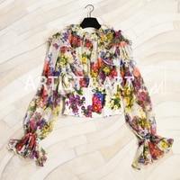 Svoryxiu Runway High End 100% Silk Tops Blouse Women's Cascading Ruffle Charming Floral Print Autumn Custom Shirts