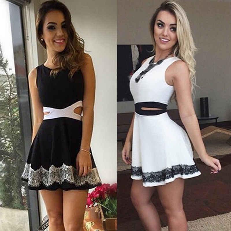 2017 נשים תחרת שמלות ערב מסיבת חוף הקיץ מקרית שרוולים טנק קצר חור חלול מתוך מיני שמלה שחור לבן