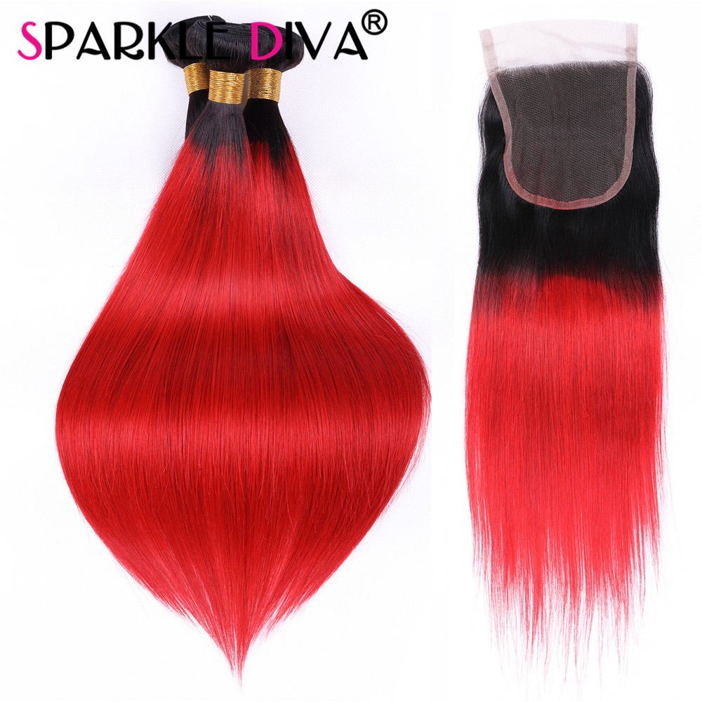 Ombre 1B/Red Straight Brazilian Human Hair Weave 3 Bundles With Lace Closure Non Remy Pre-Colored Hair Human Hair Extensions